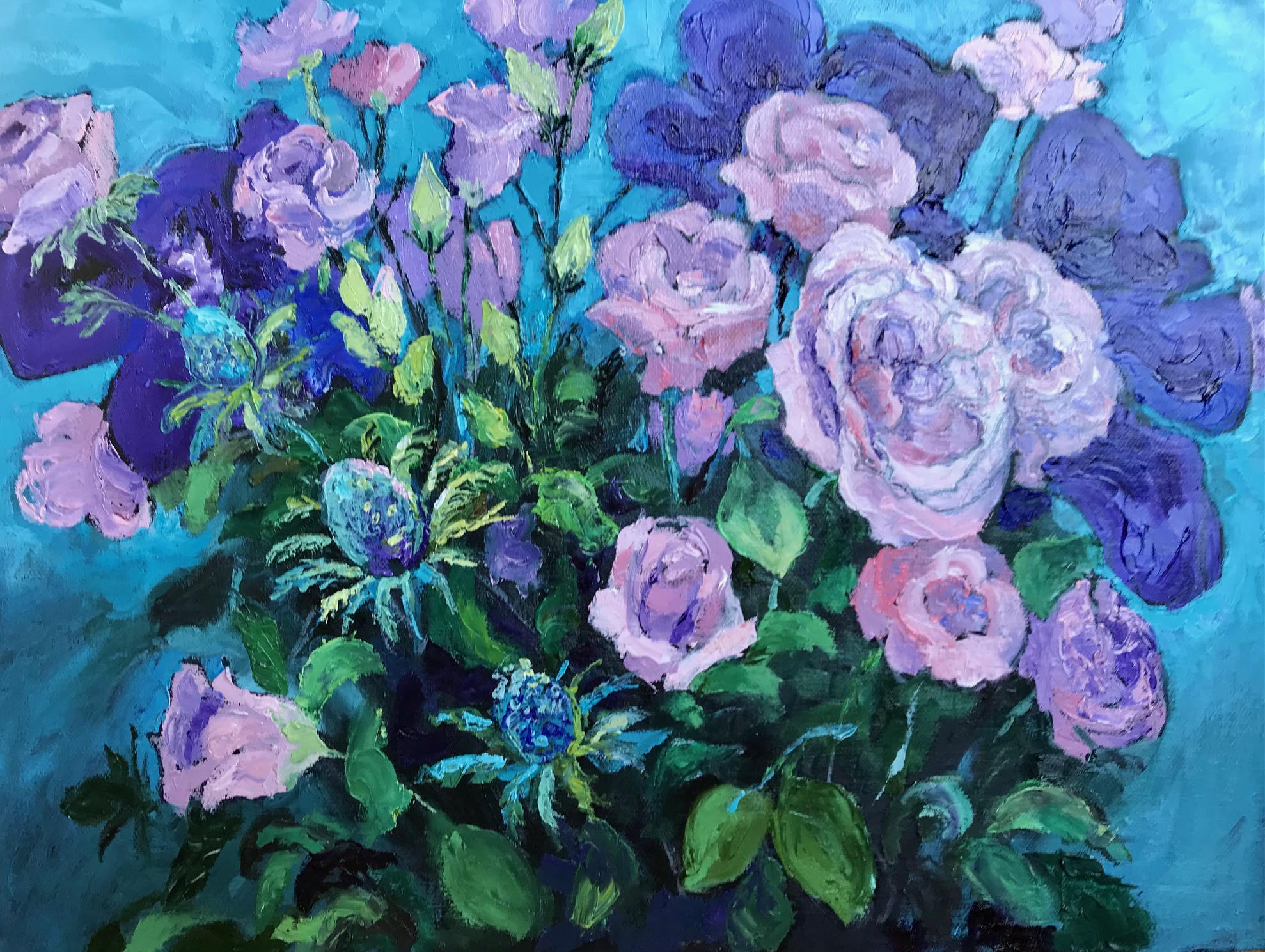 Pink roses on blue