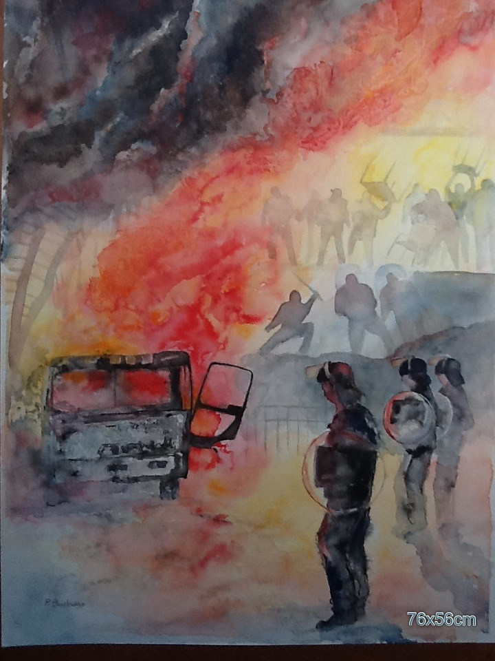 Riot. Watercolour. 76x56cm
