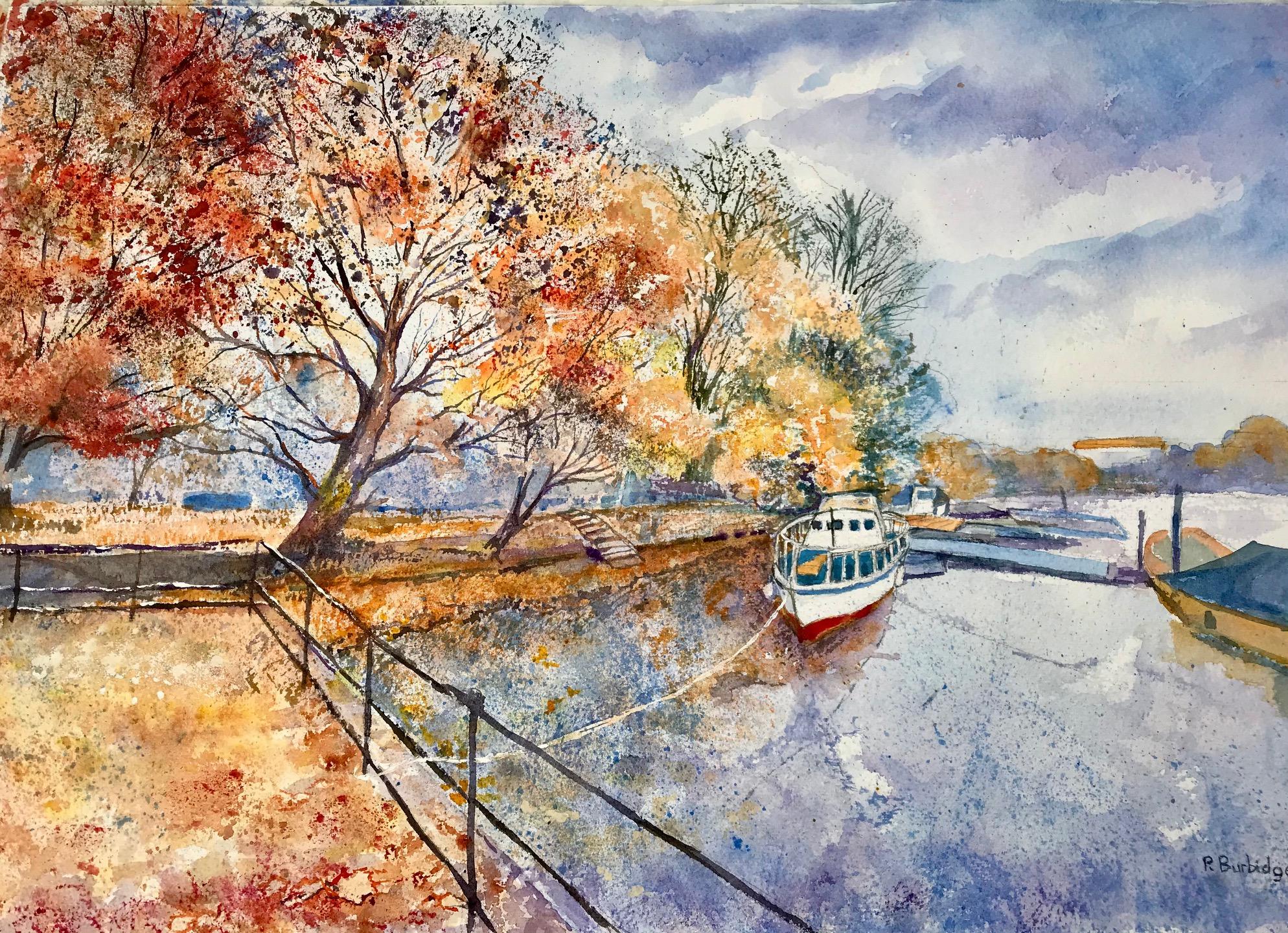 Watercolour of Autumn Twickenham Riverside